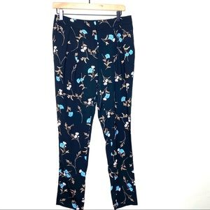 Warehouse black and blue floral trousers size 10